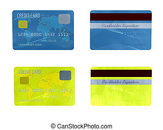 Two credit cards - Colorful credit card close up on white...