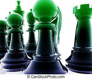 Chess set pieces illustration, glossy chrome metal style