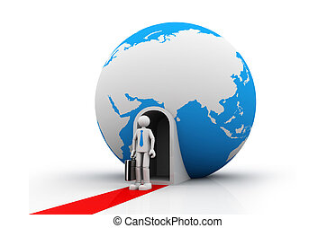 3d business man with  earth globe