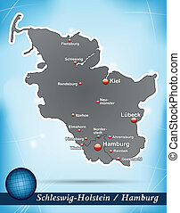 Map of Schleswig-Holstein with abstract background in blue