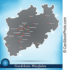 Map of North Rhine-Westphalia with abstract background in...