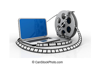 Laptop and films. Multimedia concept
