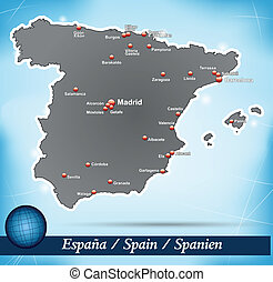 Map of Spain with abstract background in blue