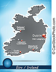 Map of Ireland with abstract background in blue