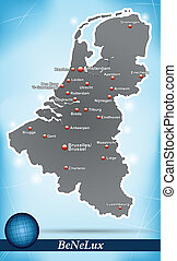 Map of Benelux with abstract background in blue