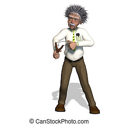 Albert Einstein - rendering of a cartoon professor With...