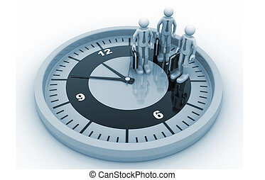 3d business people and a big clock
