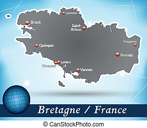 Map of Brittany with abstract background in blue