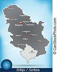 Map of Serbia with abstract background in blue