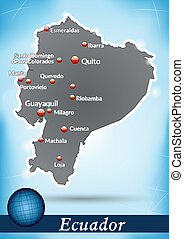 Map of ecuador with abstract background in blue