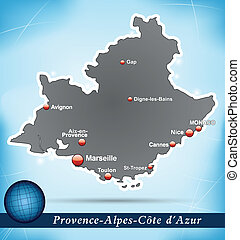 Map of Provence-Alpes-Cote d Azur with abstract background...