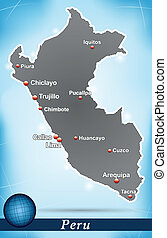 Map of Peru with abstract background in blue