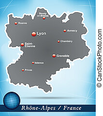 Map of Rhone-Alpes with abstract background in blue