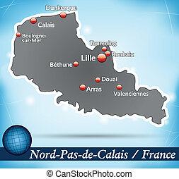 Map of North-pas-de-calais with abstract background in blue