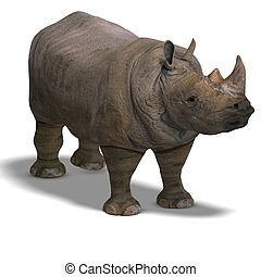 Rhinoceros Rendering - Rendering of a Rhinoceros with...