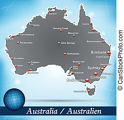 Map of Australia with abstract background in blue
