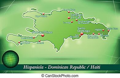 Map of hispaniola with abstract background in green