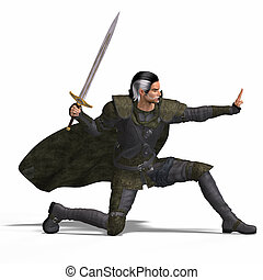 Fantasy Rogue with Sword - Rendering of a male fantasy hero...