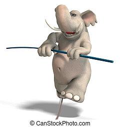 toon elephant is balancing - a funny cartoon elephant is...