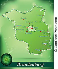 Map of Brandenburg with abstract background in green