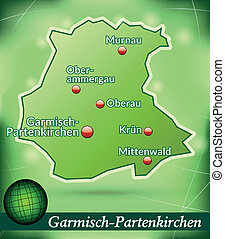 Map of Garmisch-Partenkirchen with abstract background in...