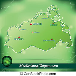 Map of Mecklenburg-Western Pomerania with abstract...