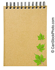 ring binder brown book or notebook - leaves on ring binder...