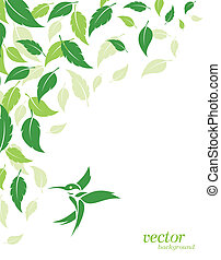 Abstract green leaves and hummingbirds background with place...