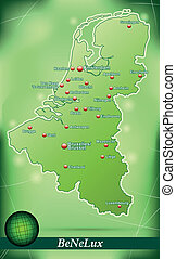 Map of Benelux with abstract background in green