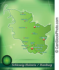 Map of Schleswig-Holstein with abstract background in green