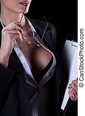 Sexy secretary - View of a sexy secretary with beautiful...