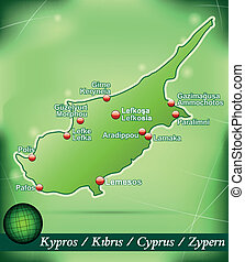 Map of Cyprus with abstract background in green