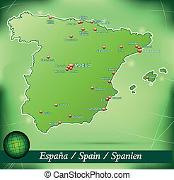 Map of Spain with abstract background in green