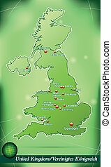 Map of England with abstract background in green