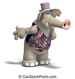 Elephant Bridegroom in tux - toon elephant groom in tuxedo...