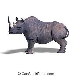 Rhinoceros Rendering - Rendering of a Rhinoceros with...