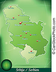 Map of Serbia with abstract background in green