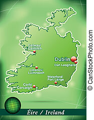 Map of Ireland with abstract background in green