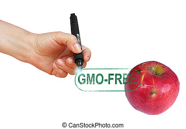 Aplle gmo-free stamp with hand end pen isolated on white