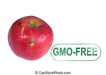 Aplle gmo-free stamp isolated on white