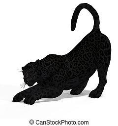 grande, gato, onça pintada, pretas