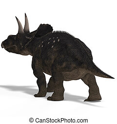 Dinosaur Diceratops With Clipping Path over white