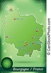 Map of Burgundy with abstract background in green