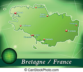 Map of Brittany with abstract background in green