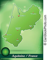 Map of aquitaine with abstract background in green