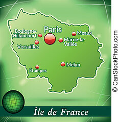 Map of Ile-de-France with abstract background in green