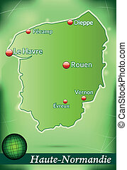 Map of Upper Normandy with abstract background in green