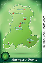 Map of auvergne with abstract background in green