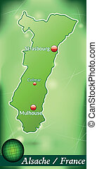 Map of Alsace with abstract background in green