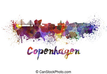 Copenhagen skyline in watercolor splatters with clipping...